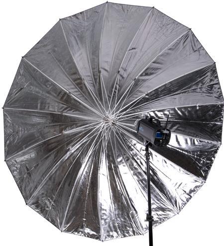 215cm Black & Silver 16 Rib Parabolic Umbrella With Fibre Rods