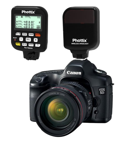 Phottix Helios transmitter shown on a Canon camera