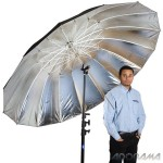 """Adorama Flashpoint 86"""" silver parabolic umbrella"""