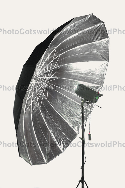 "Hobo Lighting 85"" (215cm) Silver/Black Parabolic Type Umbrella"