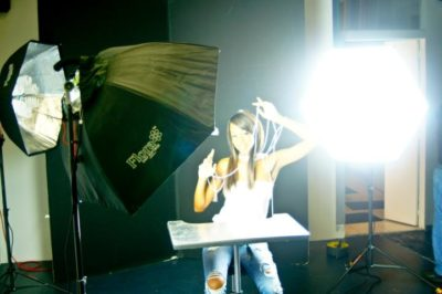 A Three point lighting setup with Floras. Each light was being turned on one at a time to set them precisely.