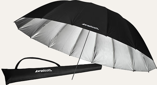 Westcott 7 foot Silver/Black parabolic umbrella