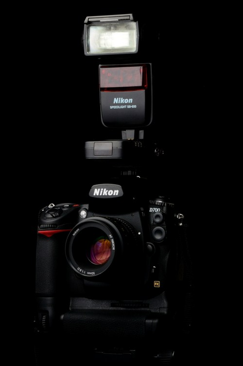 Nikon SB-600 on the TTL pass-through hotshoe of the Pixel Bishop