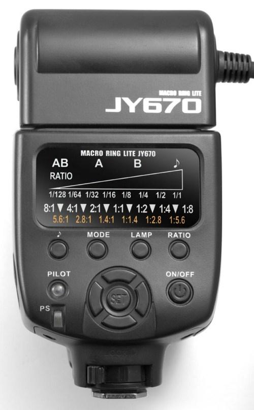 Viltrox JY-670 Ring Flash controls
