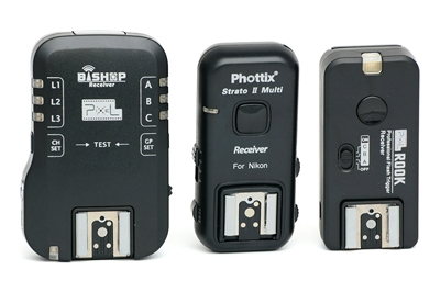 Pixel Bishop, Phottix Strato II and Pixel Rook receivers (front)