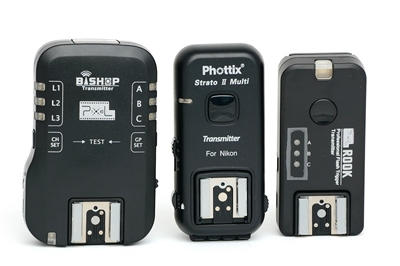 Pixel Bishop, Phottix Strato II and Pixel Rook transmitters (front)