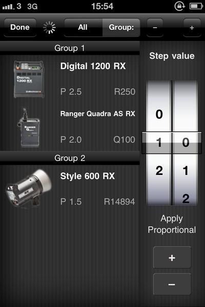 iPhone screenshot of the Elinchrom EL-Skyport app for iOS