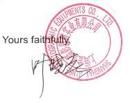Yours faithfully, (signed)
