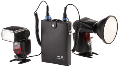 The Jinbei MF-35 can power two flashes at once