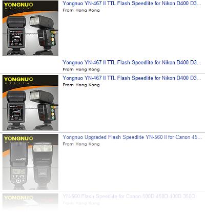 Yongnuo eBay listings mentioning Nikon D400