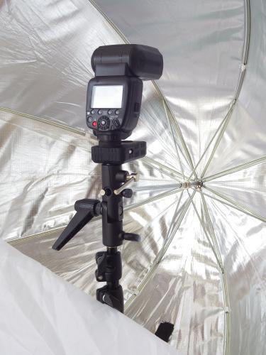 Canon Speedlite 600EX in an umbrella softbox