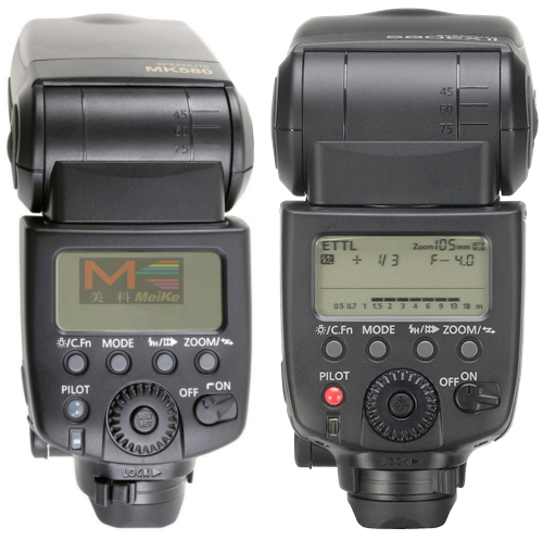 MeiKe MK580 (left) and Canon 580EX II