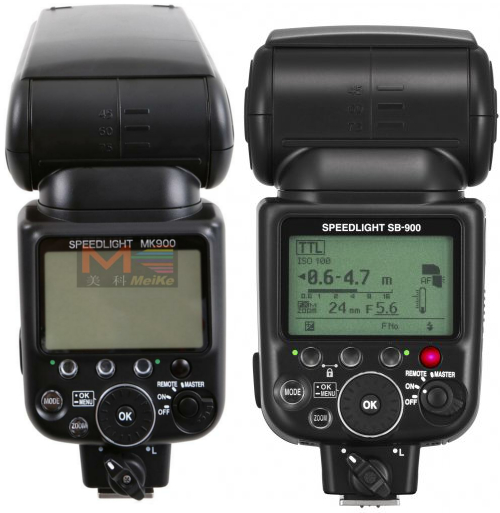MeiKe MK900 (left) and Nikon SB900