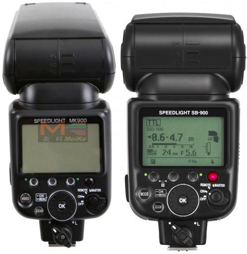 MeiKe MK900 (left) and Nikon SB900