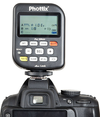 Phottix Odin TCU on a Nikon DSLR