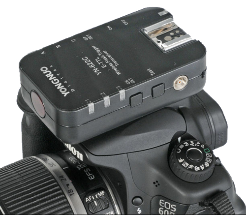 Yongnuo YN-622C transceiver on a Canon 60D