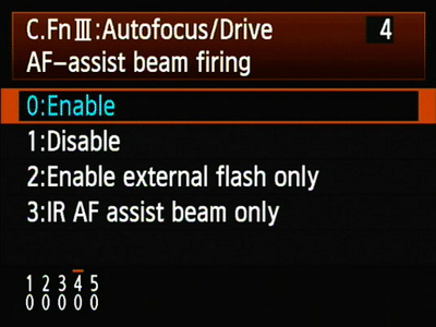 AF assist beam without flash in Canon DSLR camera menu settings