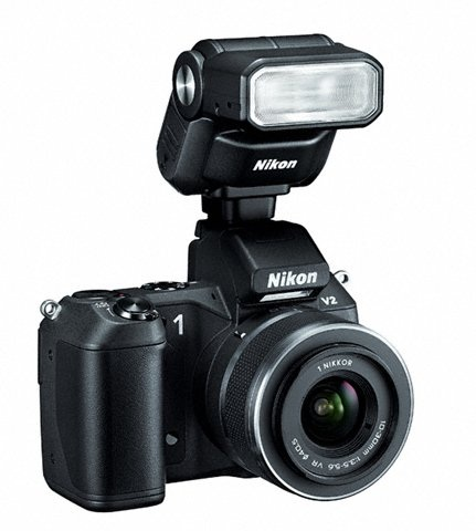 Nikon 1 V2 with Speedlight SB-N7 in black