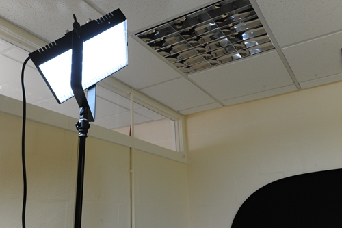 Limelite Mosaic LED positioned high up on a light stand
