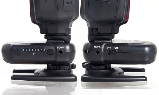 Phottix Ares receivers, with Mitros speedlights attached