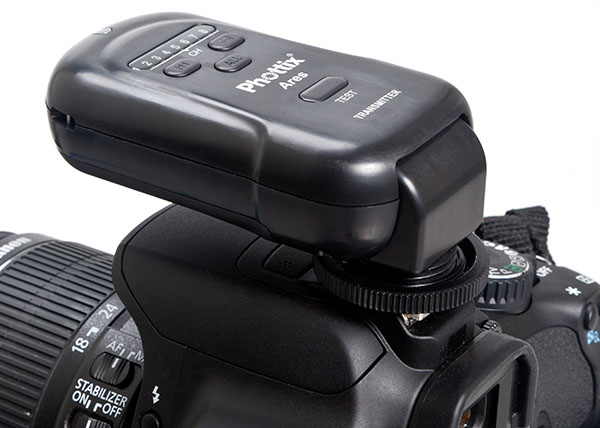 Phottix Ares transmitter in horizontal position