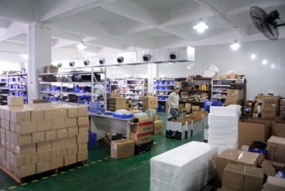 The dispatch warehouse where kits are packed up, ready for shipment to customers