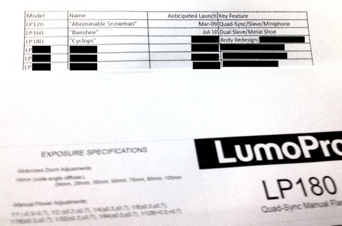 Purported LumoPro LP180 instruction manual and LP flash roadmap