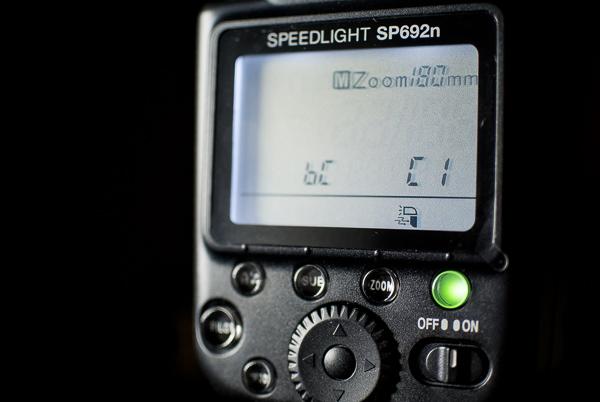 Calumet Genesis Speedlight SP692n rear LCD control panel
