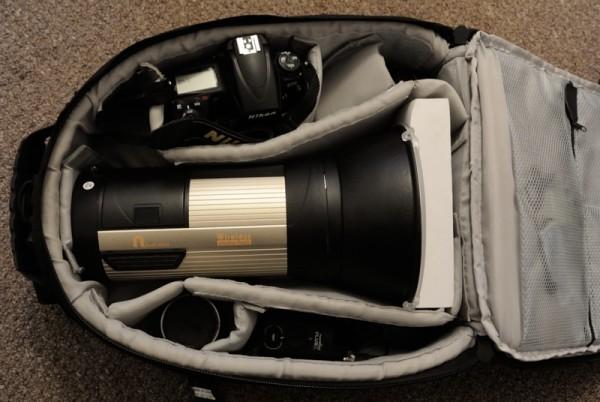 NiceFoto N-Flash 480A in a camera bag