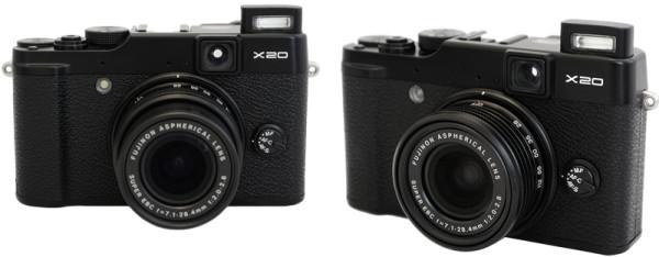 Fujifilm X20 with built-in flash raised
