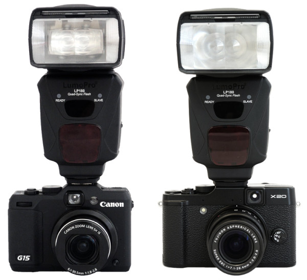 LumoPro LP180 with Canon Powershot G15 and Fujifilm X20