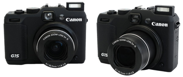 Canon Powershot G15 with built-in flash raised