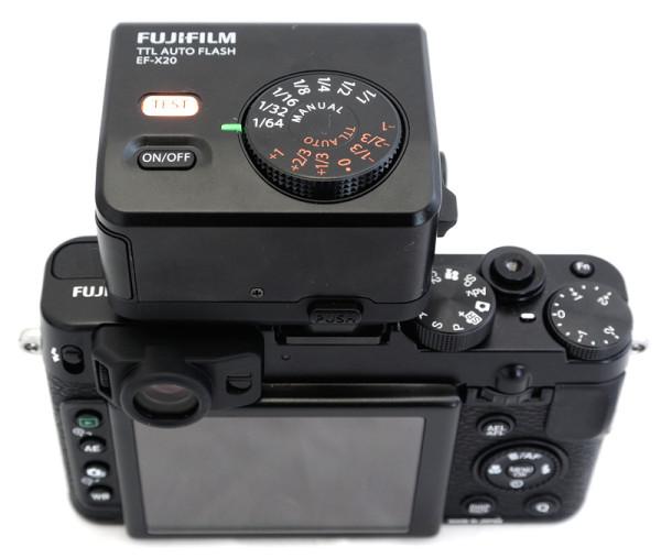 Fujifilm X20 with EF-X20 flash unit
