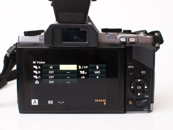 Olympus OM-D E-M5 flash control menu