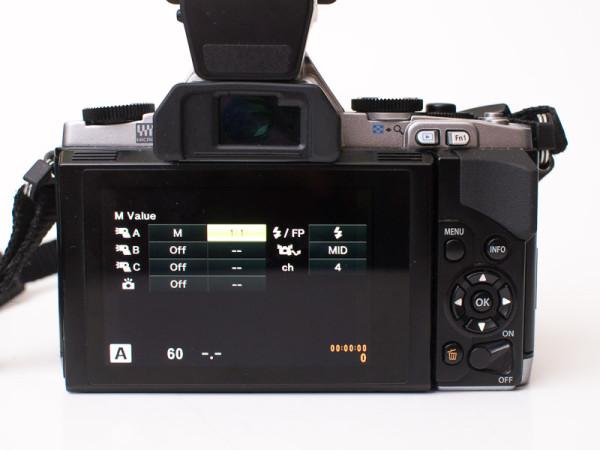 Olympus OM-D E-M5 flash control menu