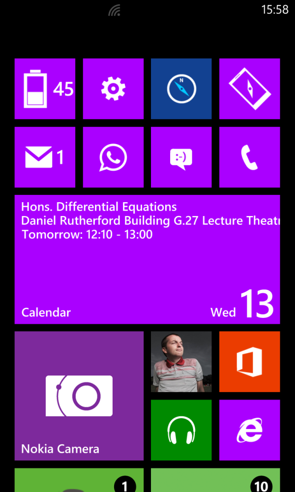 David's Windows Phone 8 start screen