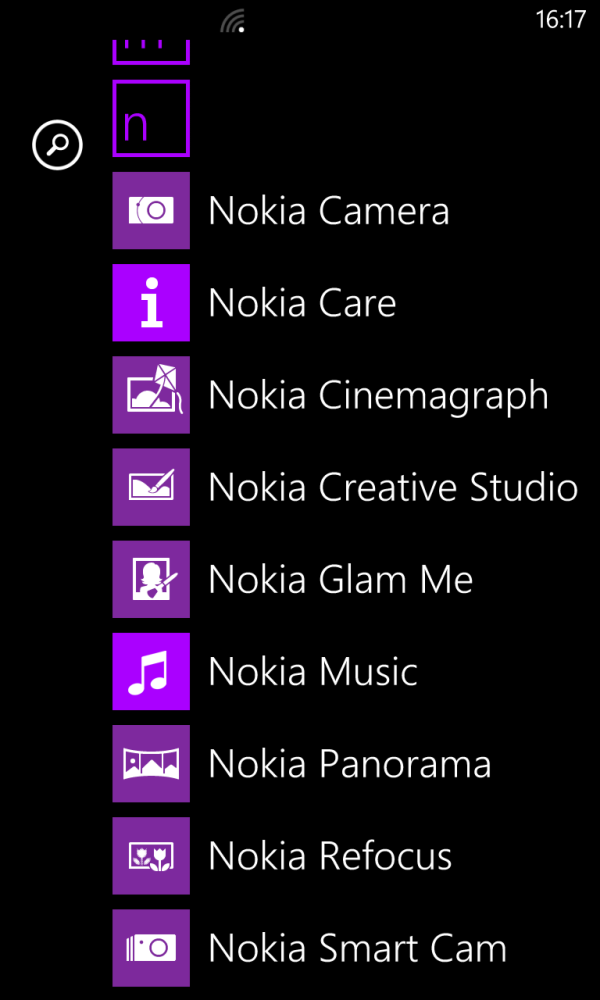 Nokia's various Windows Phone apps