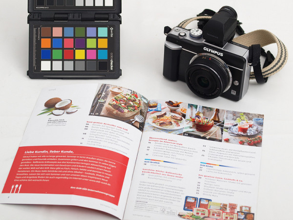 Camera, brochure and colour target