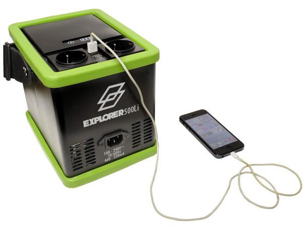Tronix Explorer 500Li charging smartphone via USB