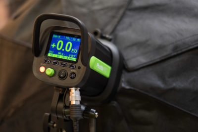 The Phottix Indra500, notice the big and bright LCD display