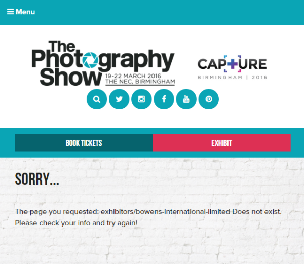 Bowens' exhibitor listing has been removed from The Photography Show web site