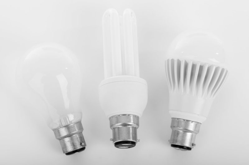 Incandescent, fluorescent and LED light bulbs
