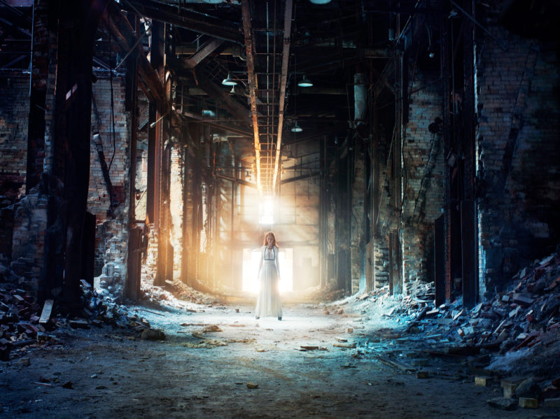Epson campaign in New York, 2007, lighting up a decaying factory building with several 6400Ws Broncolor twin heads, placed some 60 feet behind model.