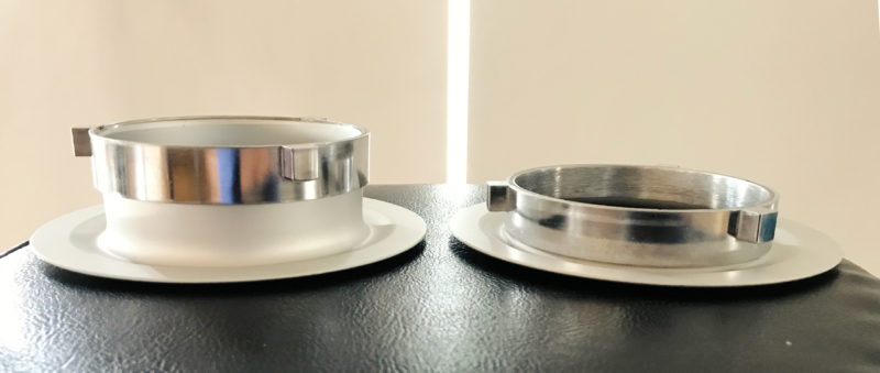 On the left, a regular Chimera Bowens adapter ring , and on the right, low profile custom ring.