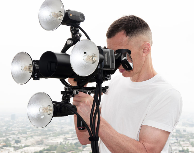 Markus Klinko with his quad ring-light